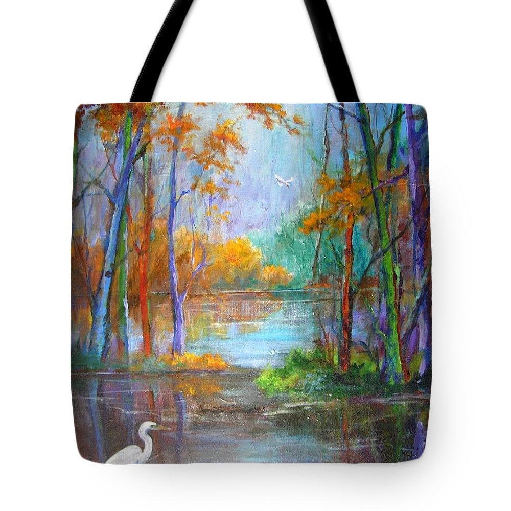 Landscape Tote Bag featuring the painting Where The Egret Lives by Barbara Couse Wilson
