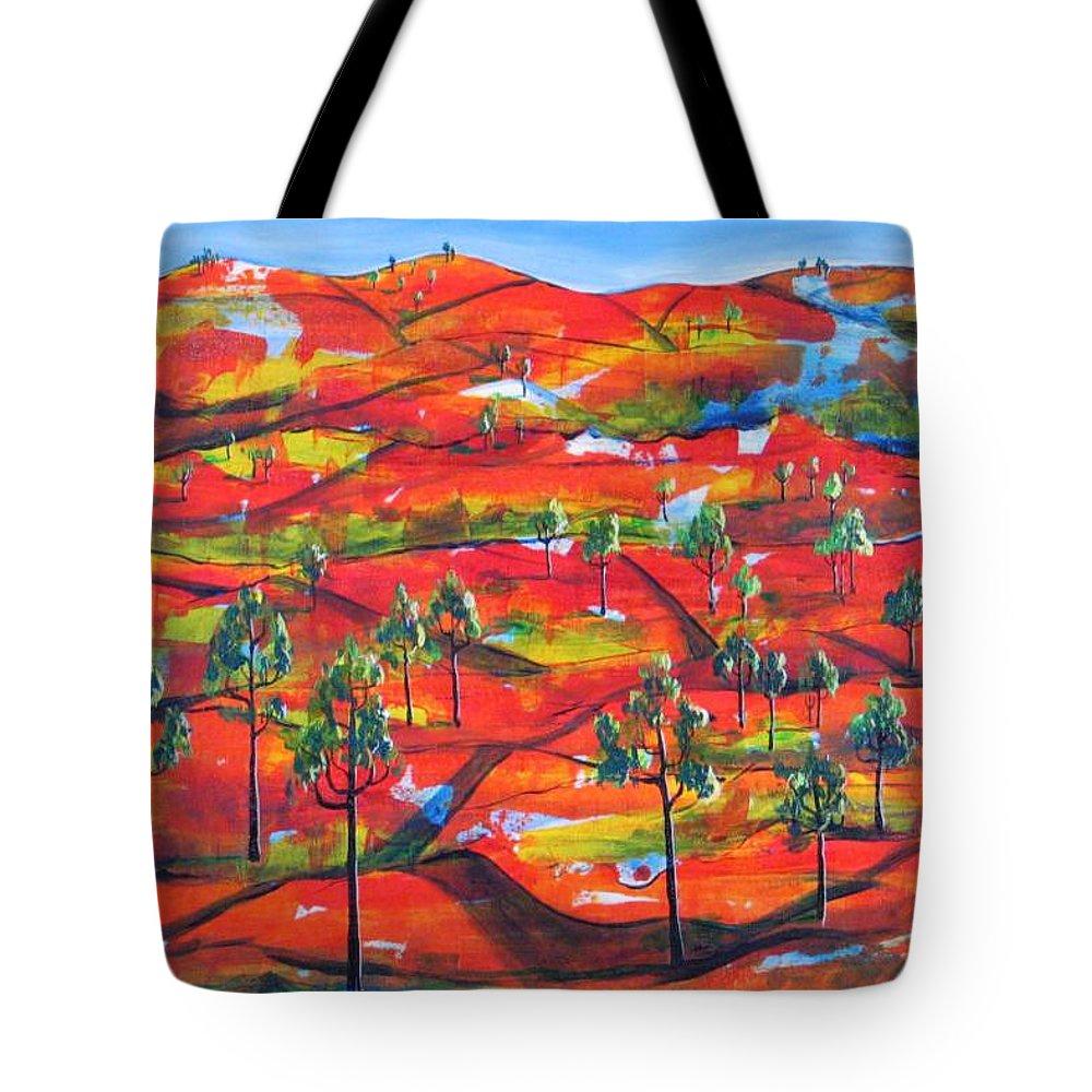 Landscape Tote Bag featuring the painting Where The Road Goes   by Rollin Kocsis