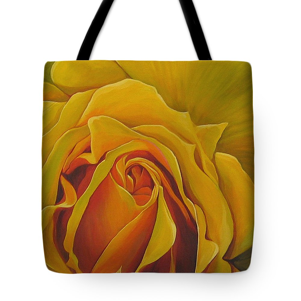 Yellow Rose Tote Bag featuring the painting Where The Rose Is Sown by Hunter Jay
