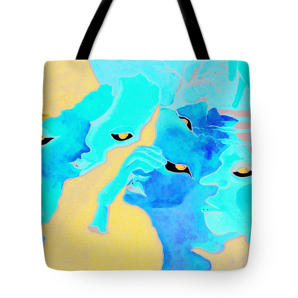 Lost Curious Red Blue People Tote Bag featuring the painting Where Was I by Veronica Jackson