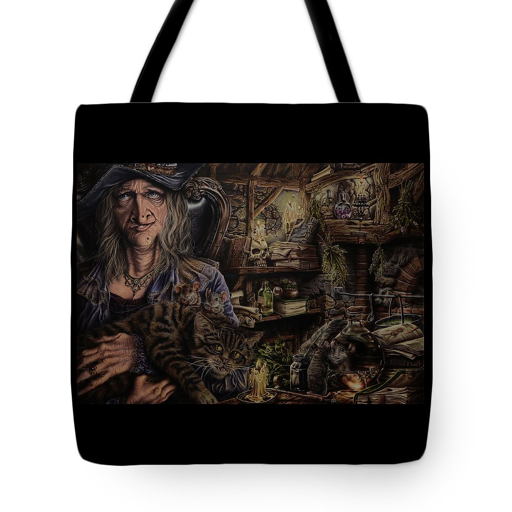 Fantasy Tote Bag featuring the painting Which witch is which by Robert Haasdijk