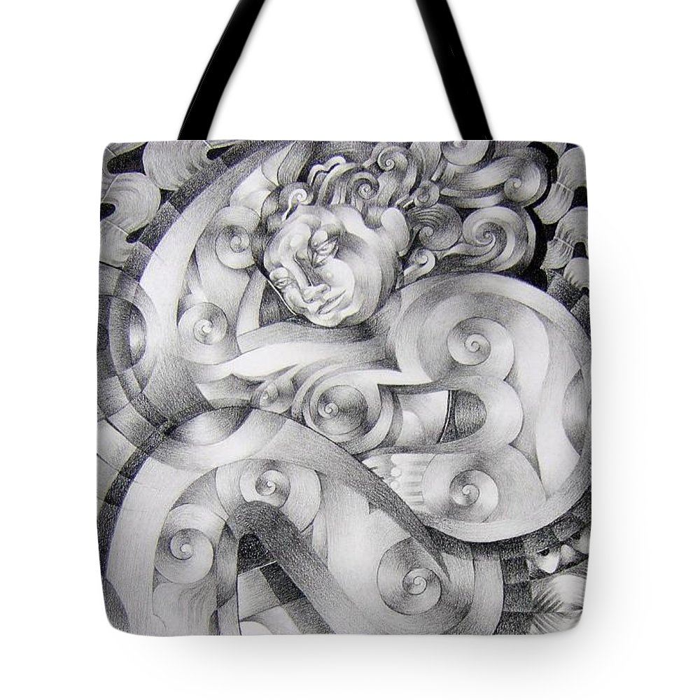 Art Tote Bag featuring the drawing Whim by Myron Belfast