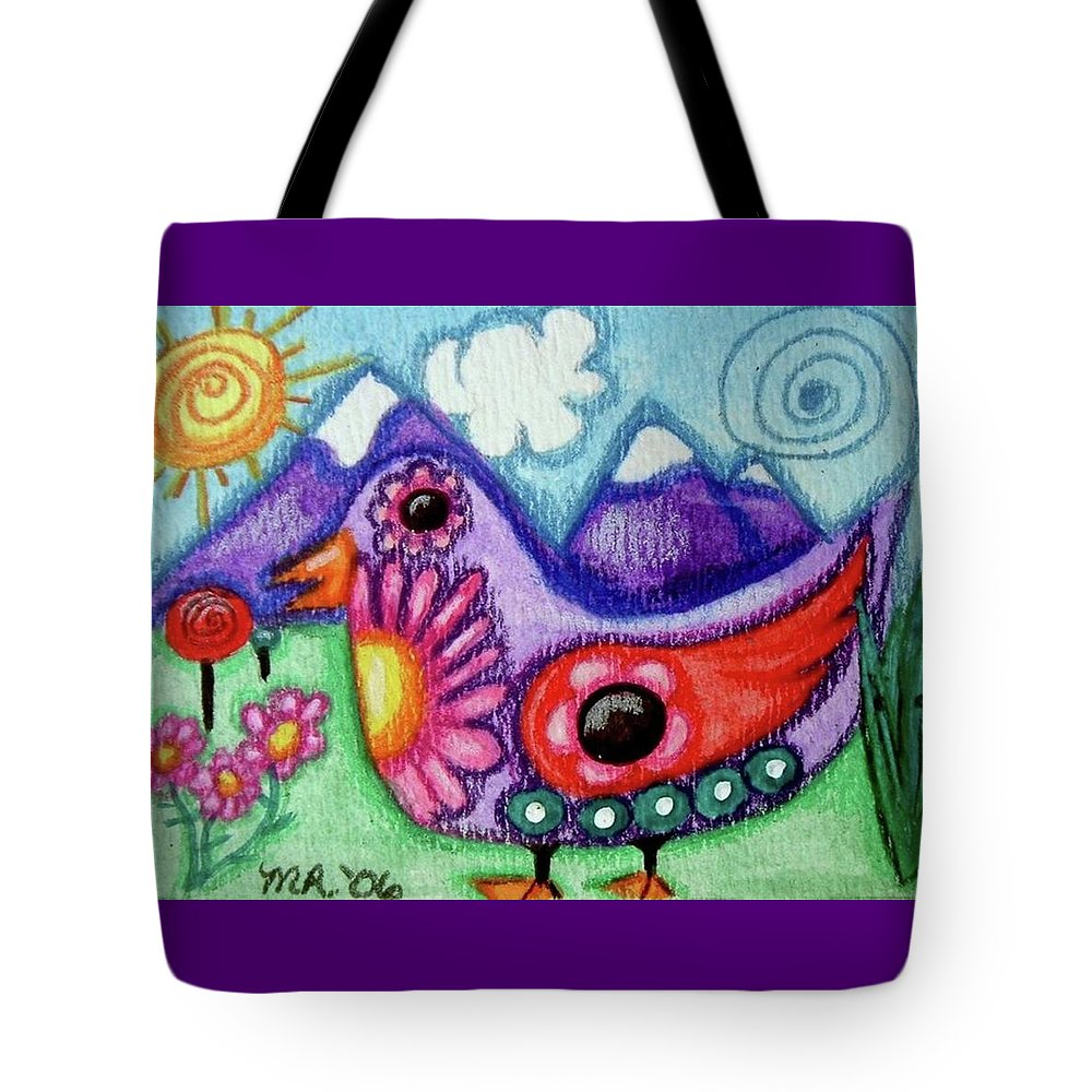 Whimsical Tote Bag featuring the painting Whimsical Bird by Monica Resinger