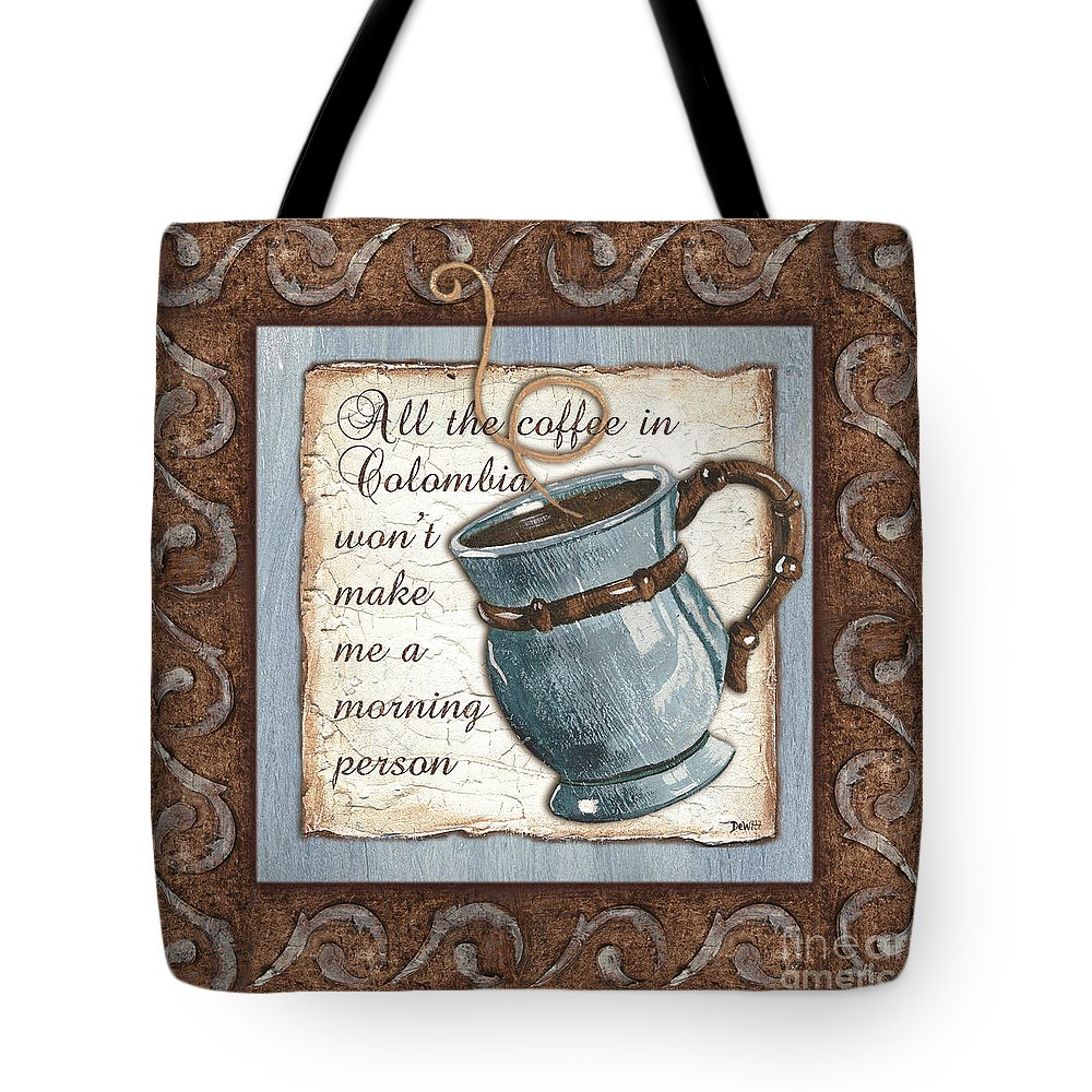 Coffee Tote Bag featuring the painting Whimsical Coffee 1 by Debbie DeWitt