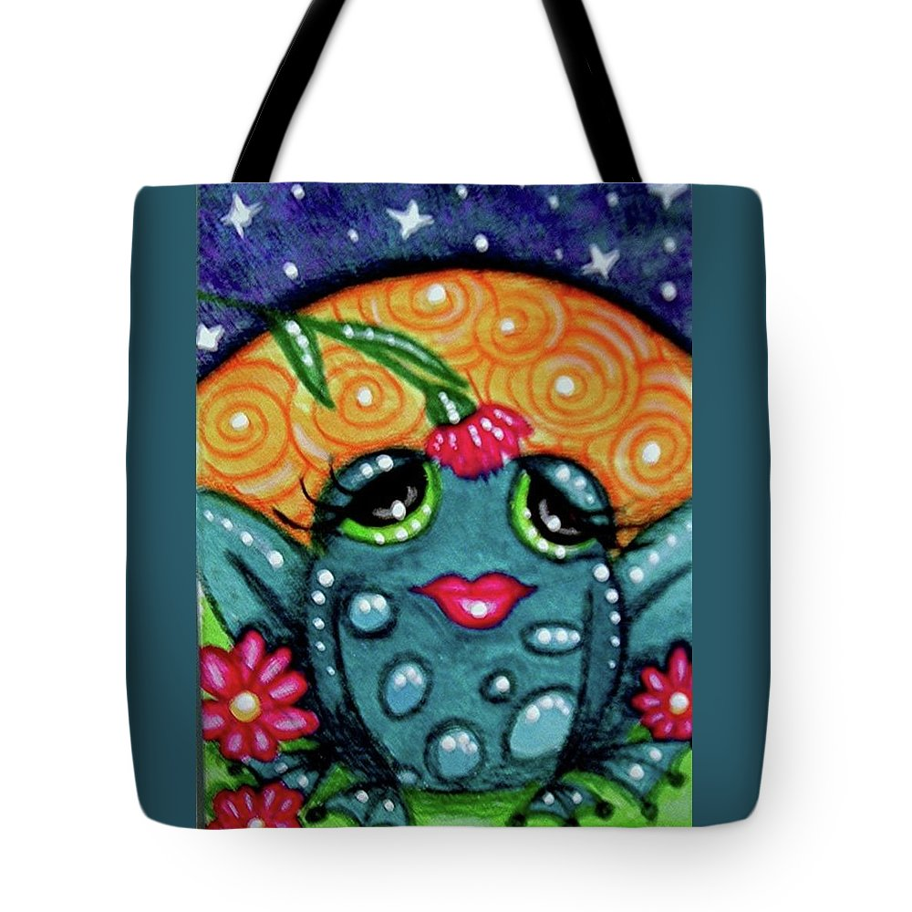 Whimsical Tote Bag featuring the painting Whimsical Frog In Moonlight by Monica Resinger
