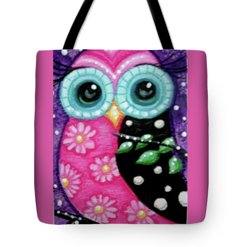 Whimsical Tote Bag featuring the painting Whimsical Owl by Monica Resinger