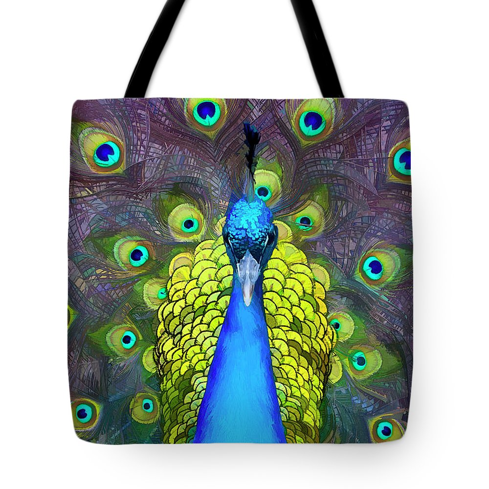 Peacock Tote Bag featuring the digital art Whimsical Peacock by Janet Fikar