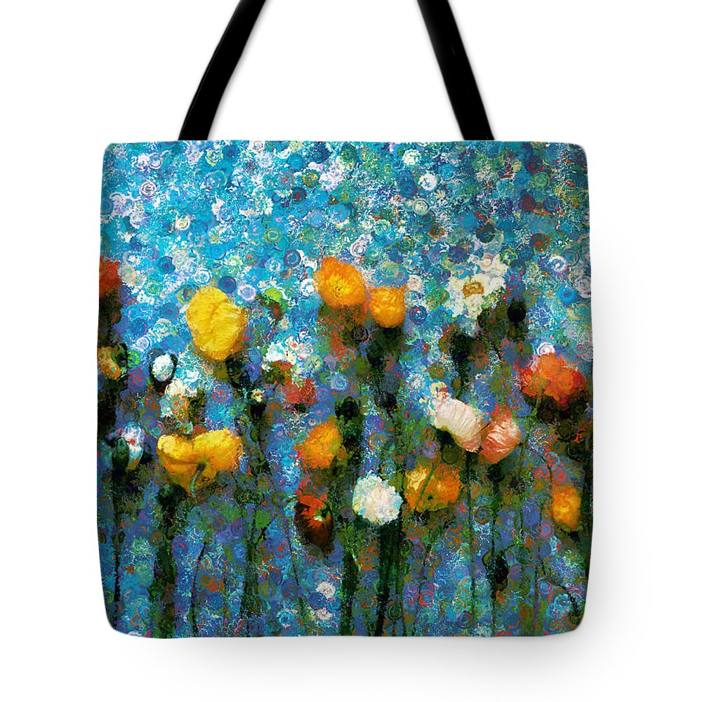 Whimsical Poppies On The Blue Wall Tote Bag featuring the mixed media Whimsical Poppies On The Blue Wall by Georgiana Romanovna