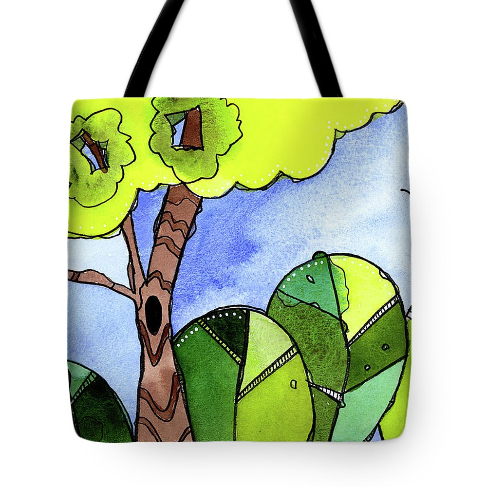 Painting Tote Bag featuring the painting Whimsy Trees by Tonya Doughty
