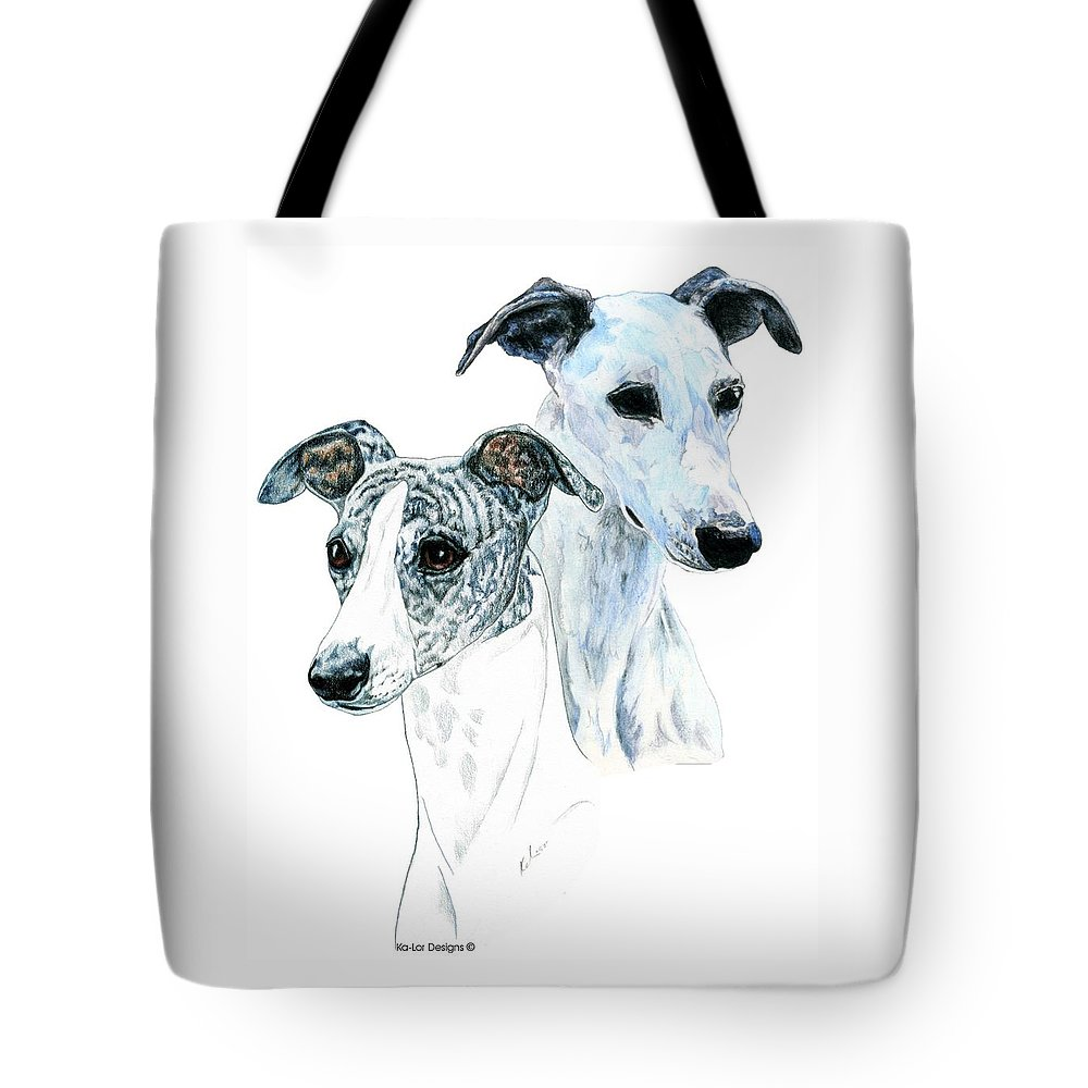 Whippet Tote Bag featuring the painting Whippet Pair by Kathleen Sepulveda