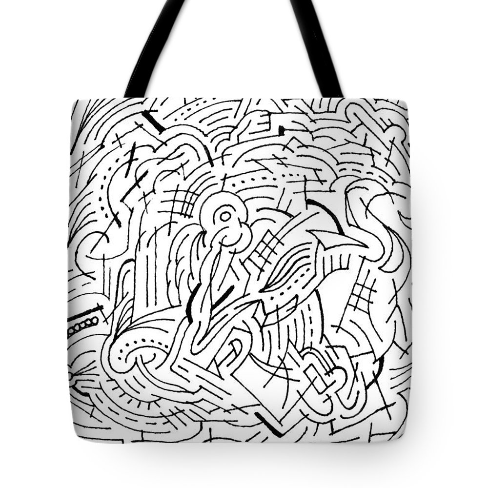 Mazes Tote Bag featuring the drawing Whirl by Steven Natanson