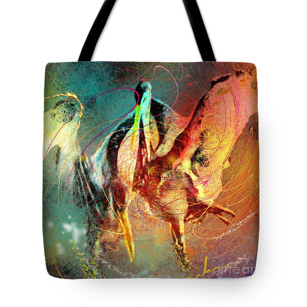 Miki Tote Bag featuring the painting Whirled In Digital Rainbow by Miki De Goodaboom