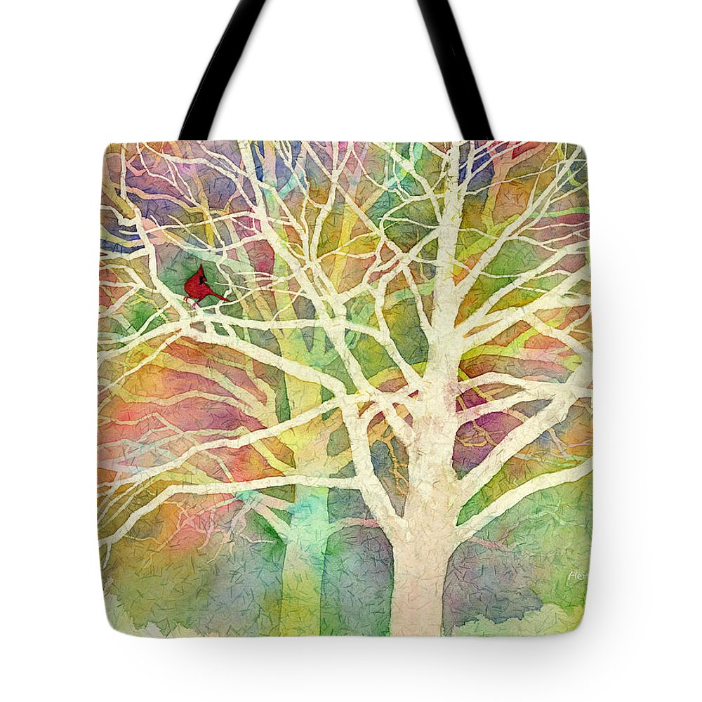 Cardinal Tote Bag featuring the painting Whisper by Hailey E Herrera