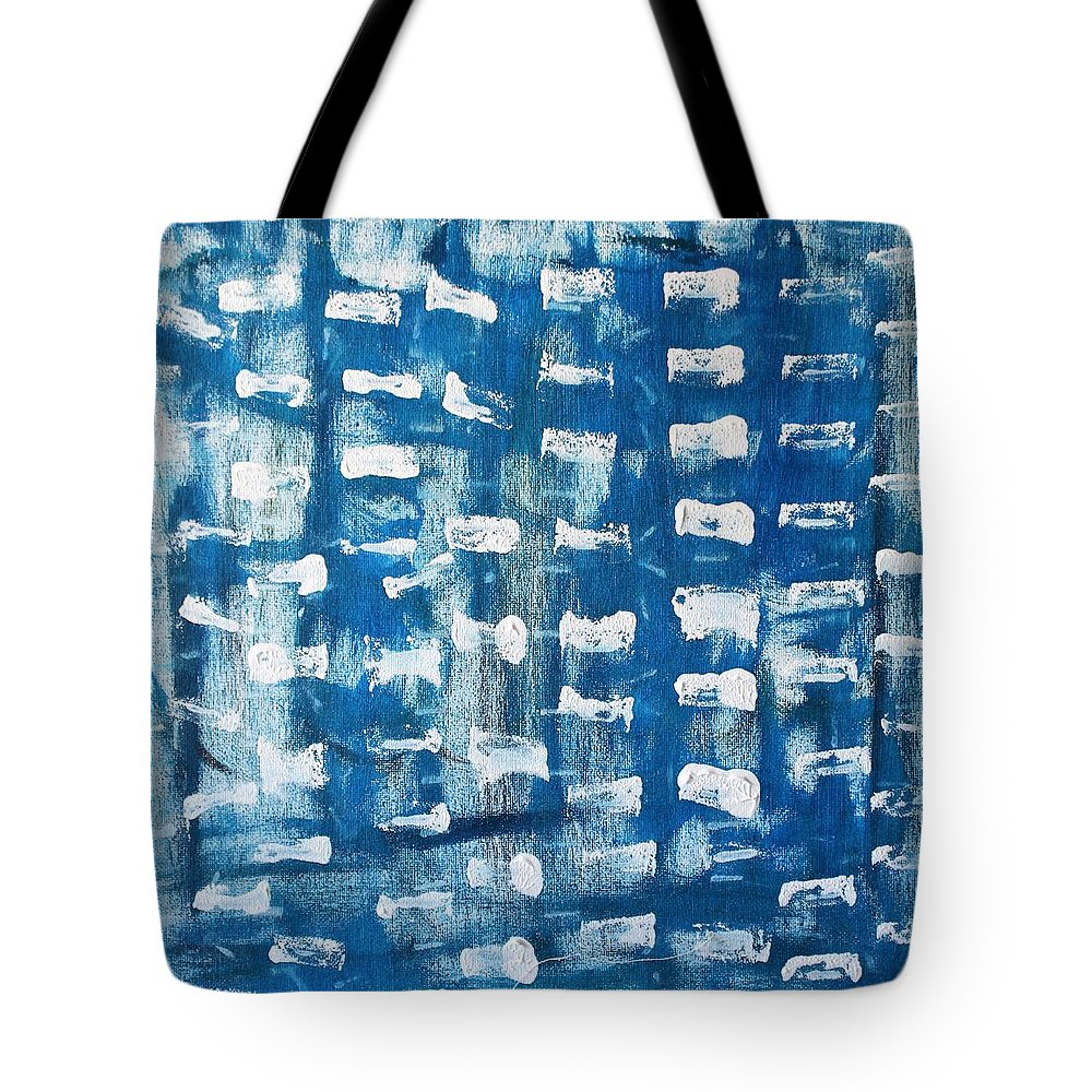 Blue Tote Bag featuring the painting Whispering Pines by Pam Roth O'Mara