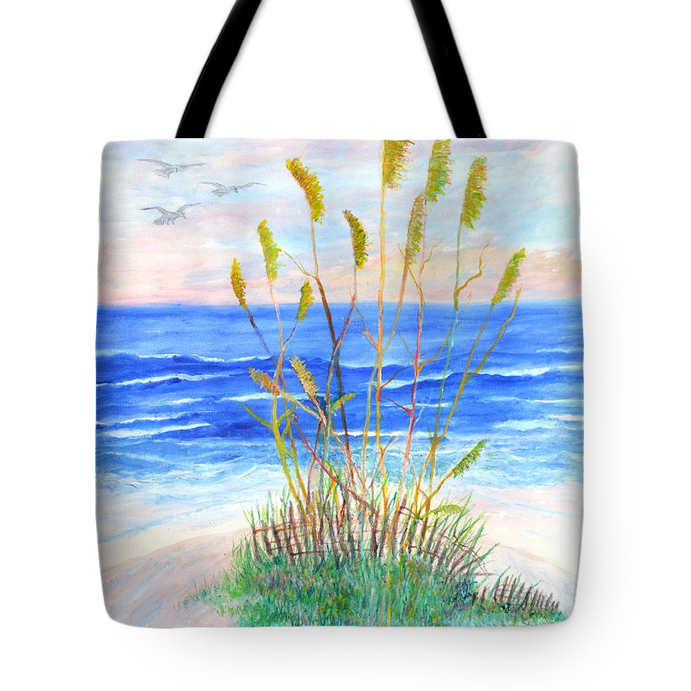 Sea Oats Tote Bag featuring the painting Whispering Sea Oats by Ben Kiger