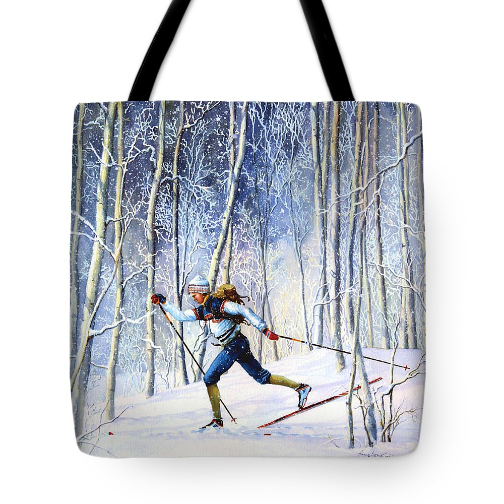 Sports Artist Tote Bag featuring the painting Whispering Tracks by Hanne Lore Koehler