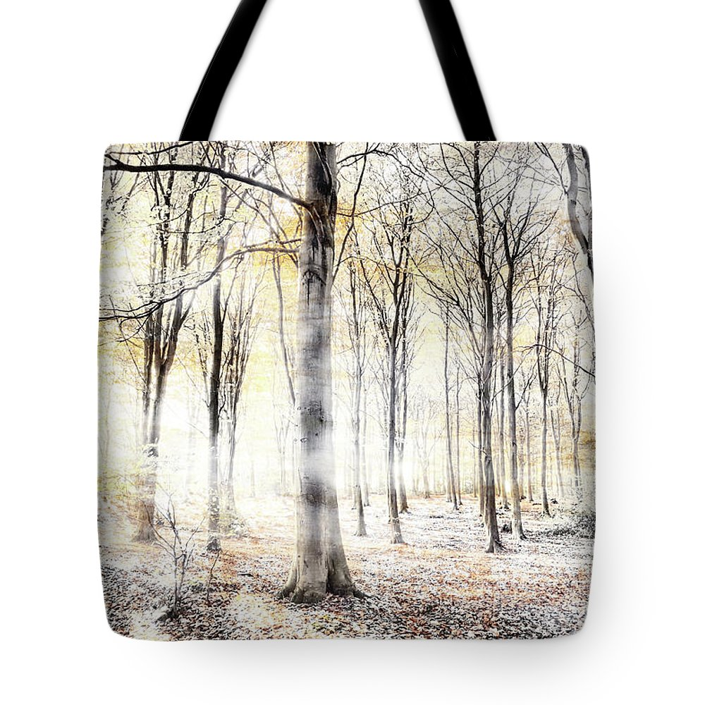 Woodland Tote Bag featuring the digital art Whispering Woodland In Autumn Fall by Simon Bratt Photography LRPS