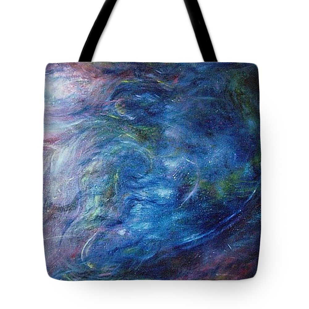 Abstract Tote Bag featuring the painting Whispers In A Sea Of Blue by Nancy Mueller