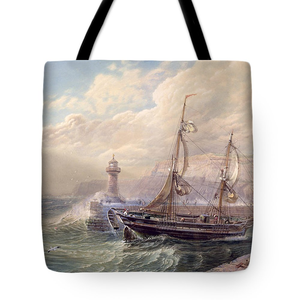 Whitby Tote Bag featuring the painting Whitby, 1883 by Samuel Phillips Jackson