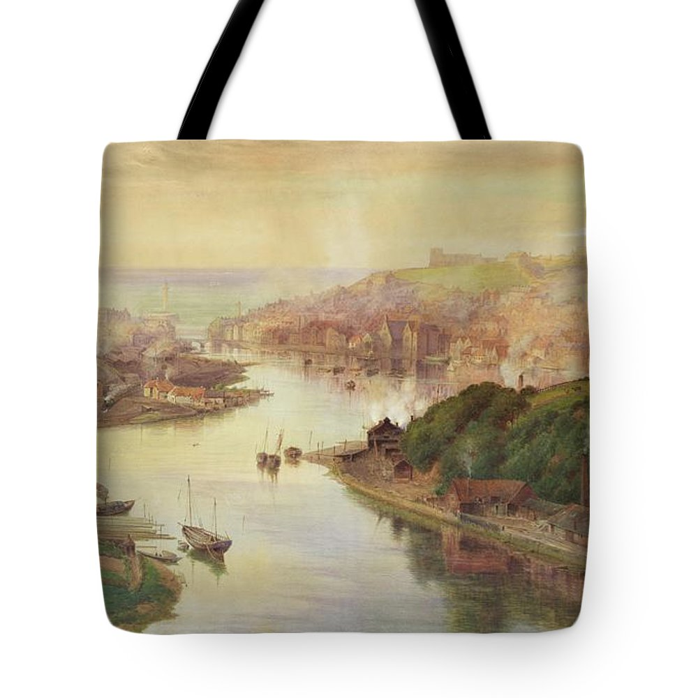 Whitby Tote Bag featuring the painting Whitby From Larpool by John Sowden