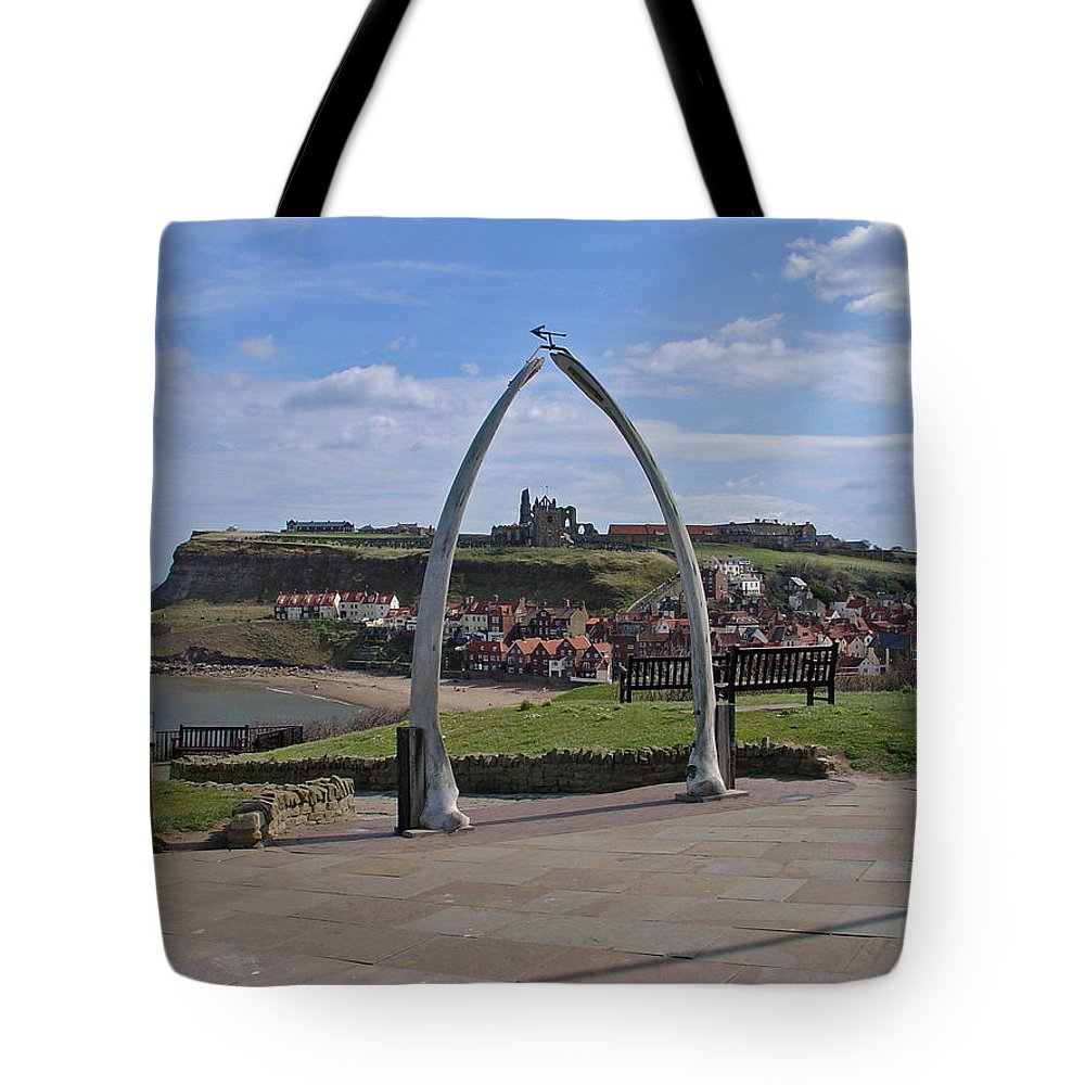 Europe Tote Bag featuring the photograph Whitby Whale Bone Arch by Rod Johnson