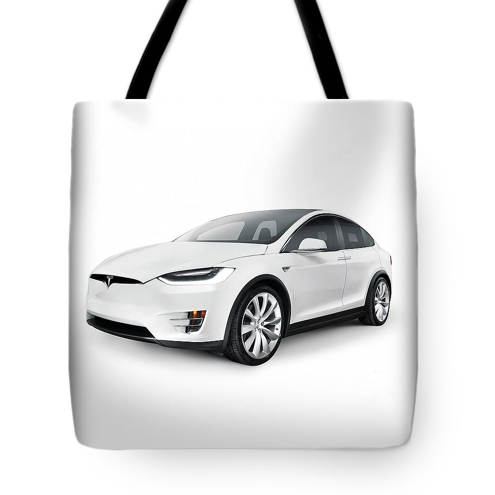 White 2017 Tesla Model X Luxury Suv Electric Car Isolated Tote Bag