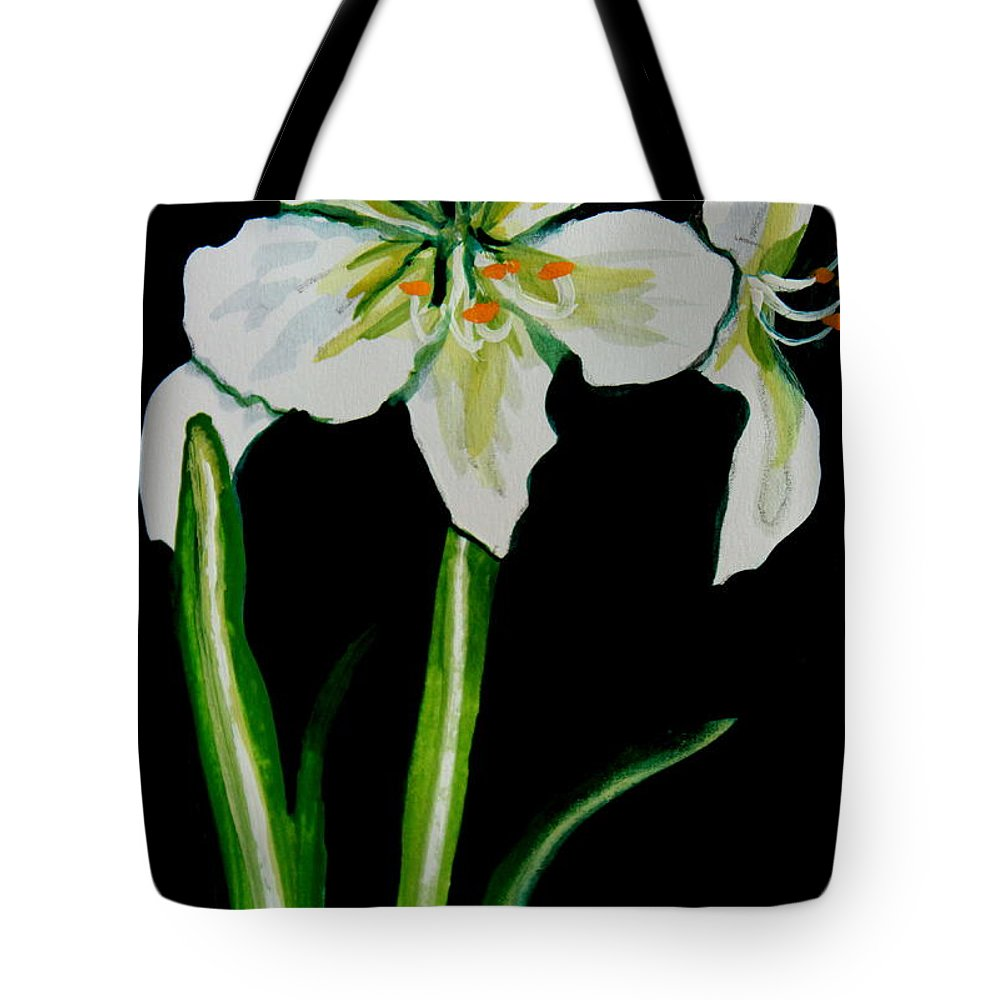 Black And White Tote Bag featuring the painting White Amaryllis by Elizabeth Robinette Tyndall