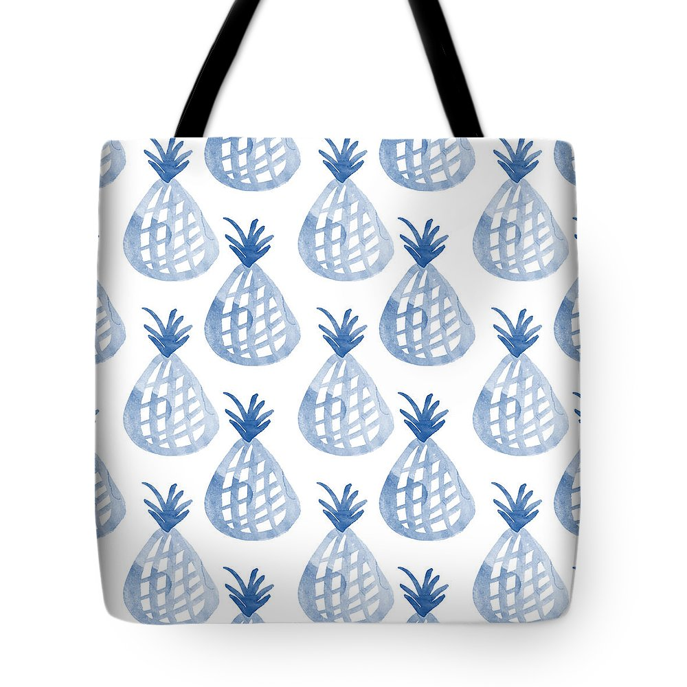 Pineapple Tote Bag featuring the mixed media White And Blue Pineapple Party by Linda Woods