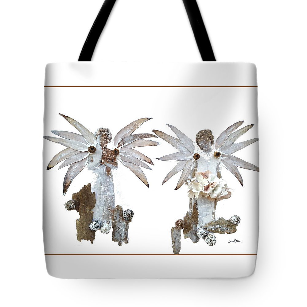 Angels Tote Bag featuring the painting White Angels by Thais Helena Ouzounian