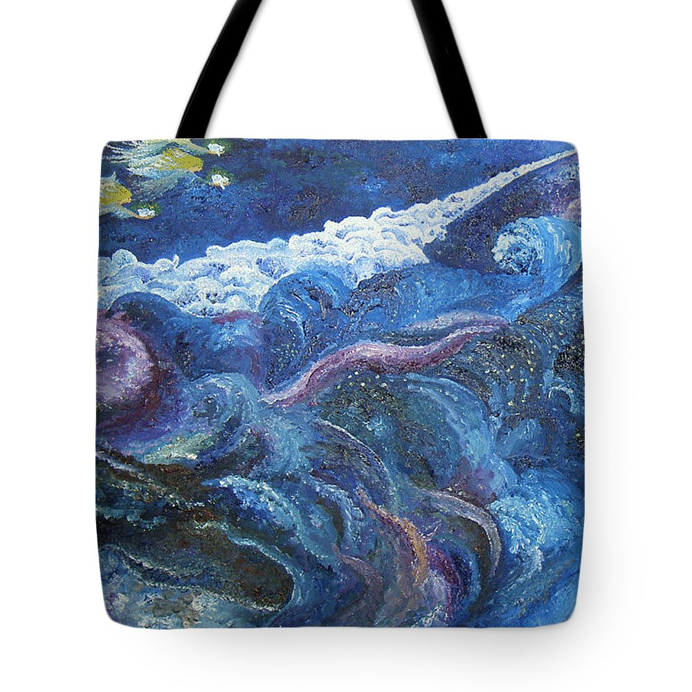 Baby Lambs Tote Bag featuring the painting White Baby Lambs Of Peaceful Nights by Karina Ishkhanova