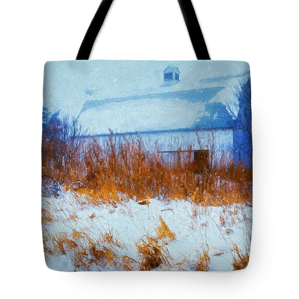 Barn Tote Bag featuring the photograph White Barn In Snowstorm by Anna Louise
