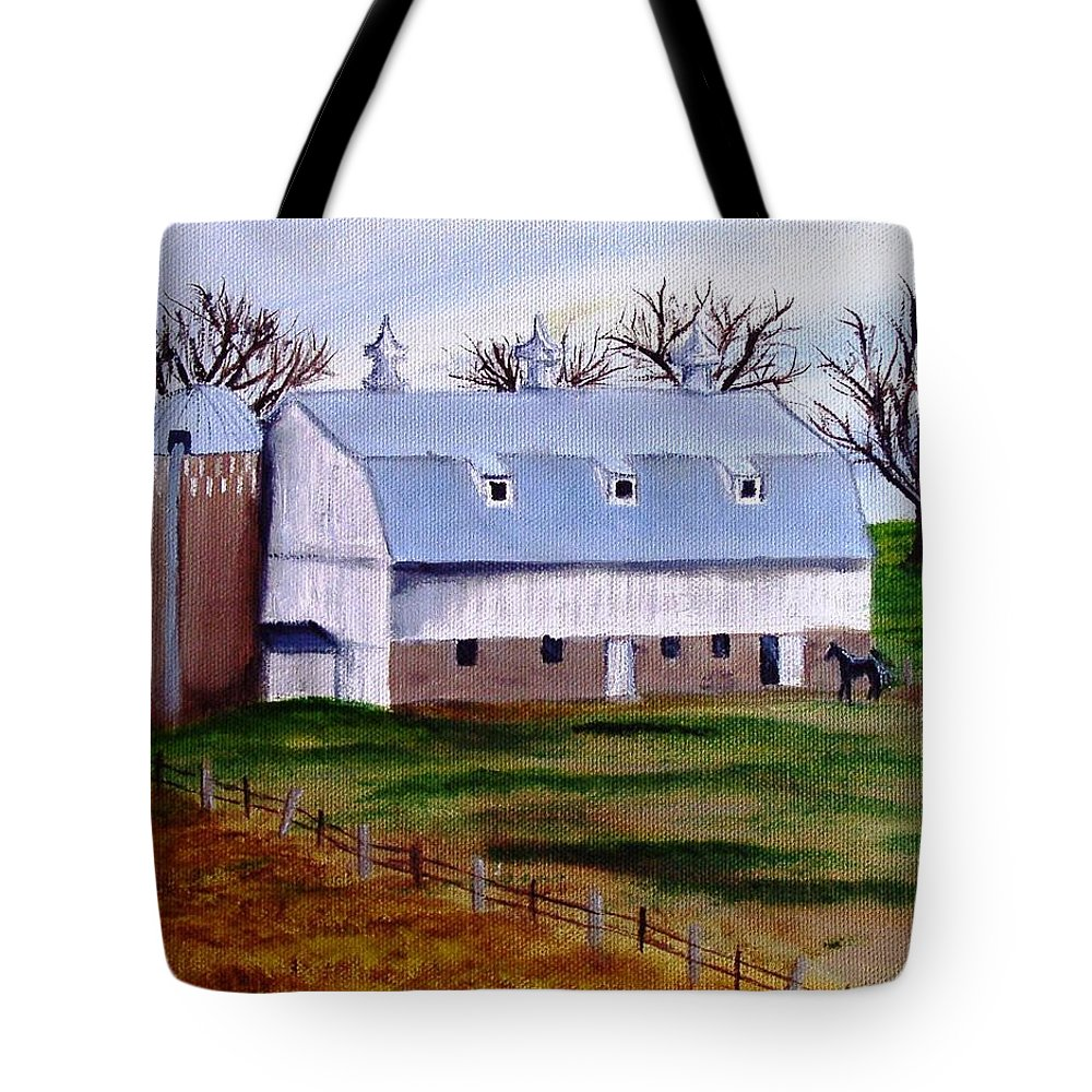 White Tote Bag featuring the painting White Barn On A Cloudy Day by Mendy Pedersen