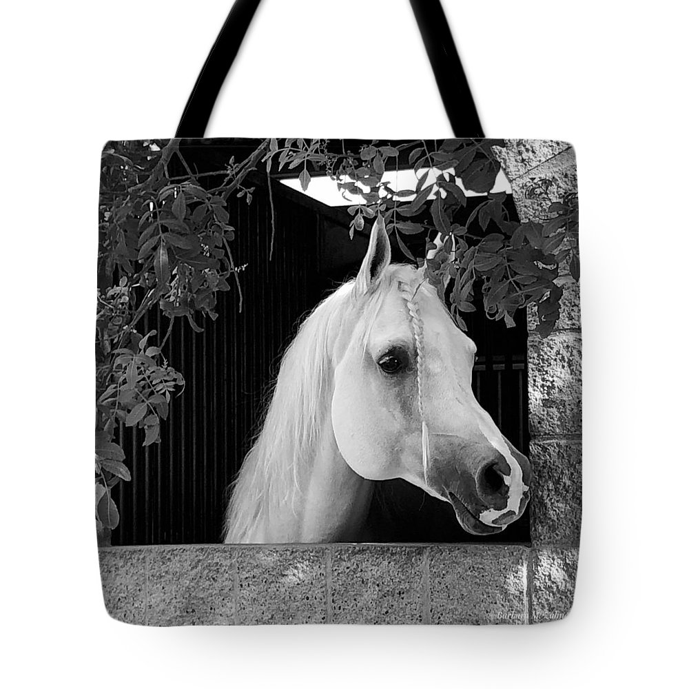 Horse Tote Bag featuring the photograph White Beauty - Series #5 by Barbara Zahno