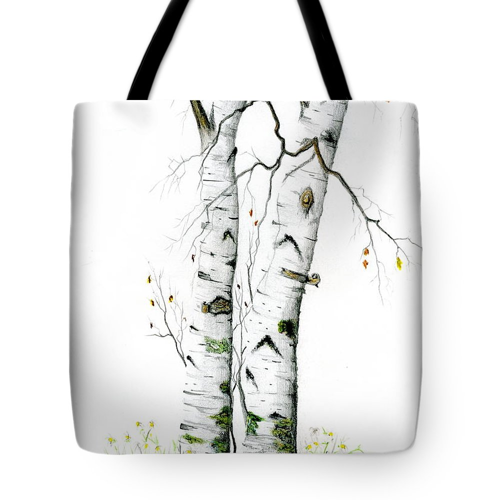 White Birch Tote Bag featuring the painting White Birch by Mary Tuomi