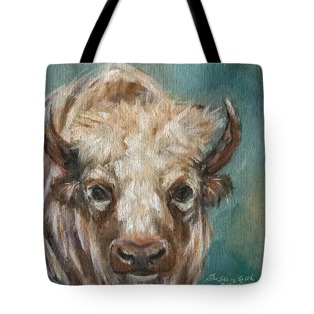 White Bison 6 X 6 Oil Painting On Canvas Bonded On A 1.5 Depth Cradle Panel. Ready To Hang. Tote Bag featuring the painting White Bison by Susan Goh