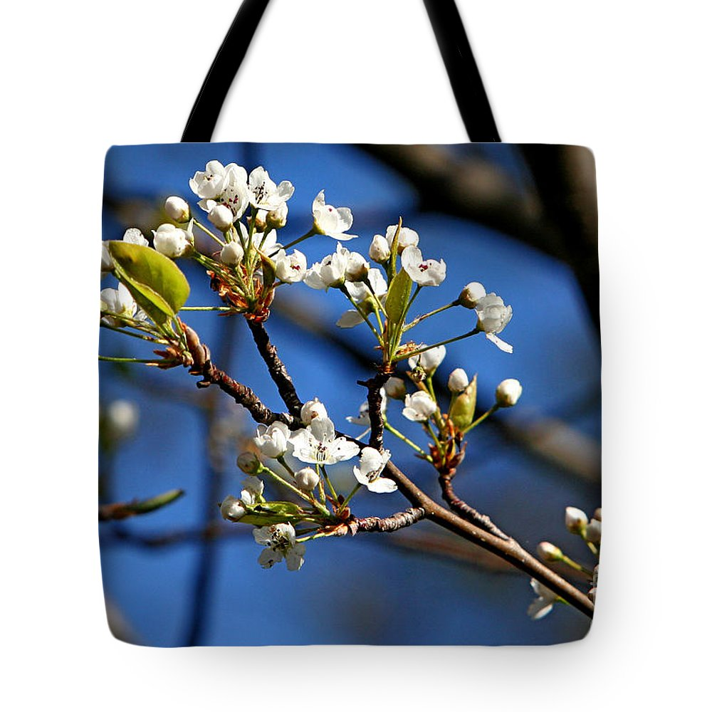 Nature Tote Bag featuring the photograph White Blooms by Marle Nopardi