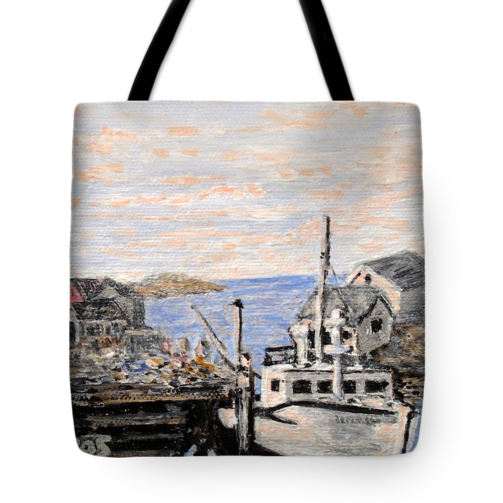 White Tote Bag featuring the painting White Boat In Peggys Cove Nova Scotia by Ian MacDonald