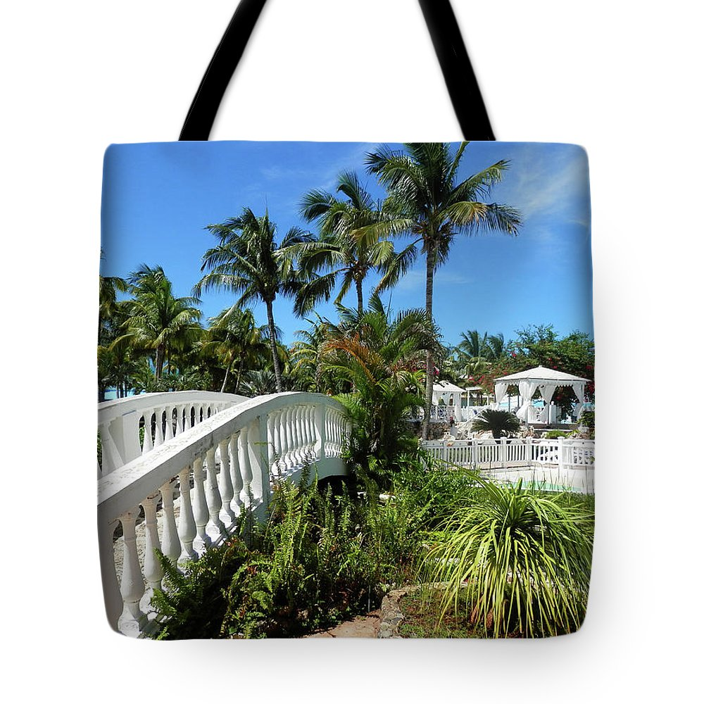 Bridge Tote Bag featuring the photograph White Bridge by Pema Hou