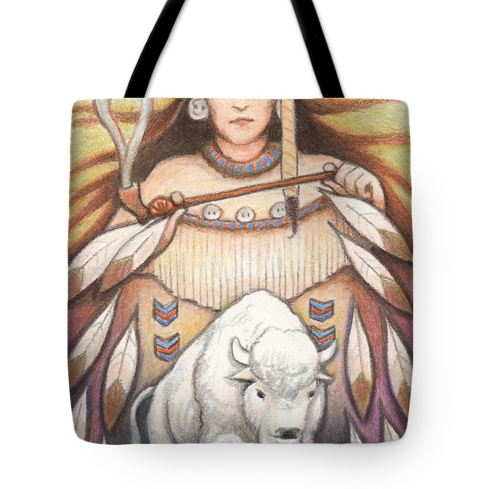 Atc Tote Bag featuring the drawing White Buffalo Woman by Amy S Turner