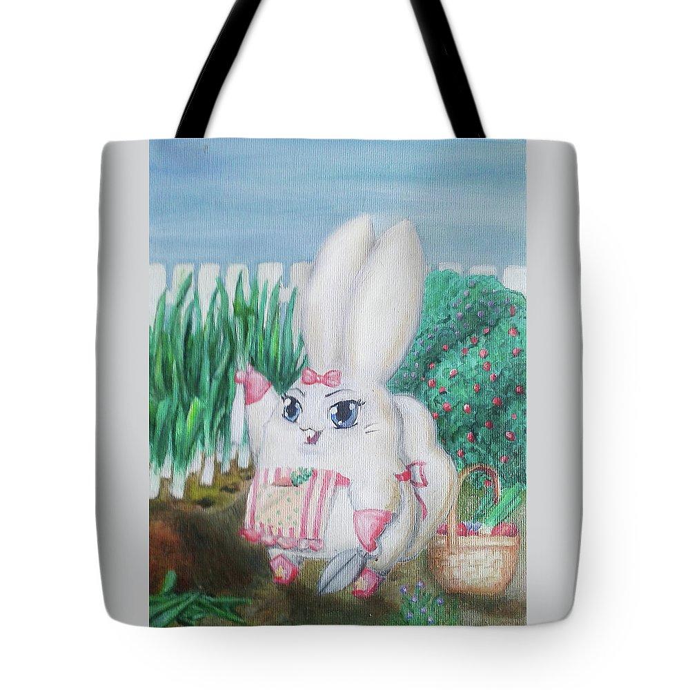 Bunny Tote Bag featuring the painting White Bunny by Viktoriia Popova