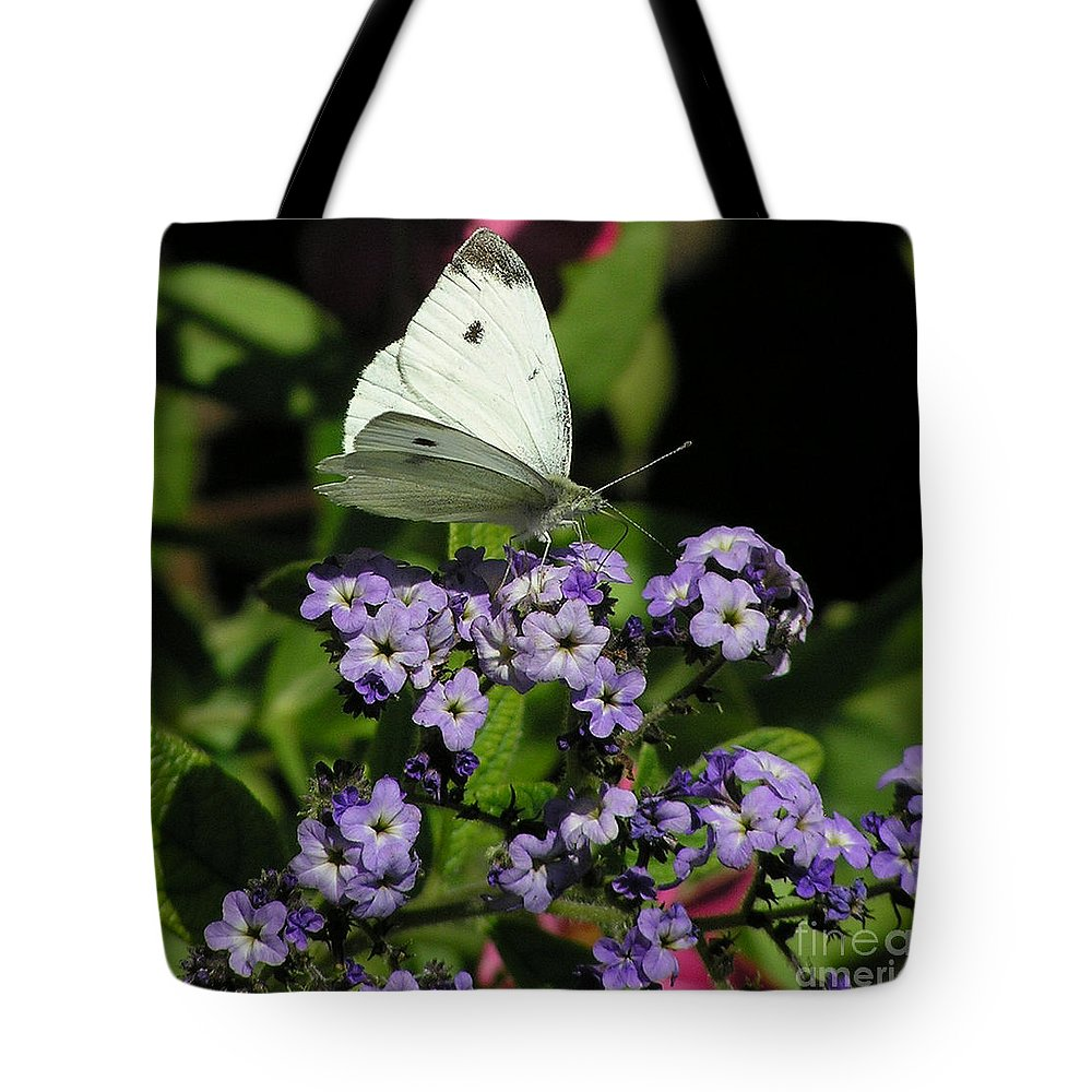 White Tote Bag featuring the photograph White Butterfly by Louise Magno