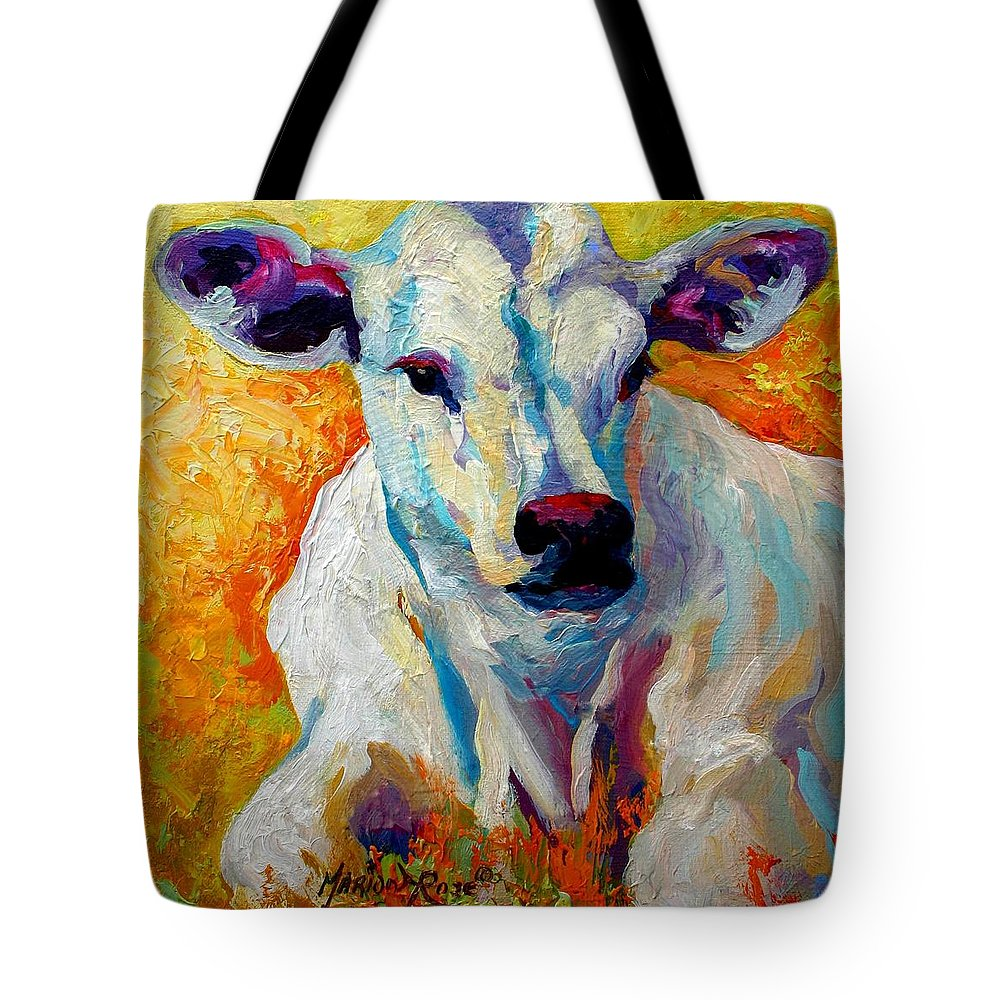 Western Tote Bag featuring the painting White Calf by Marion Rose