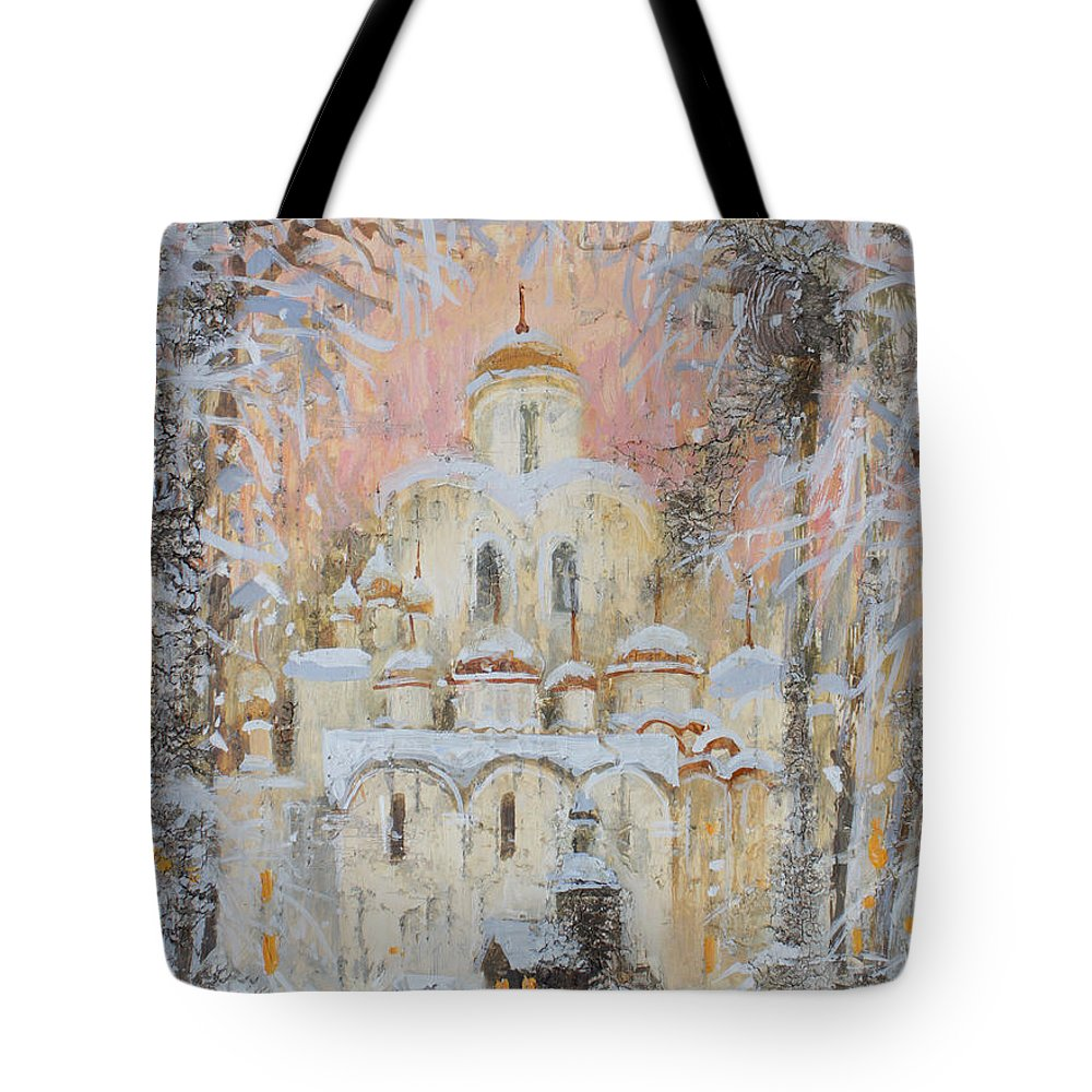 Russia Tote Bag featuring the painting White Cathedral Under Snow by Ilya Kondrashova