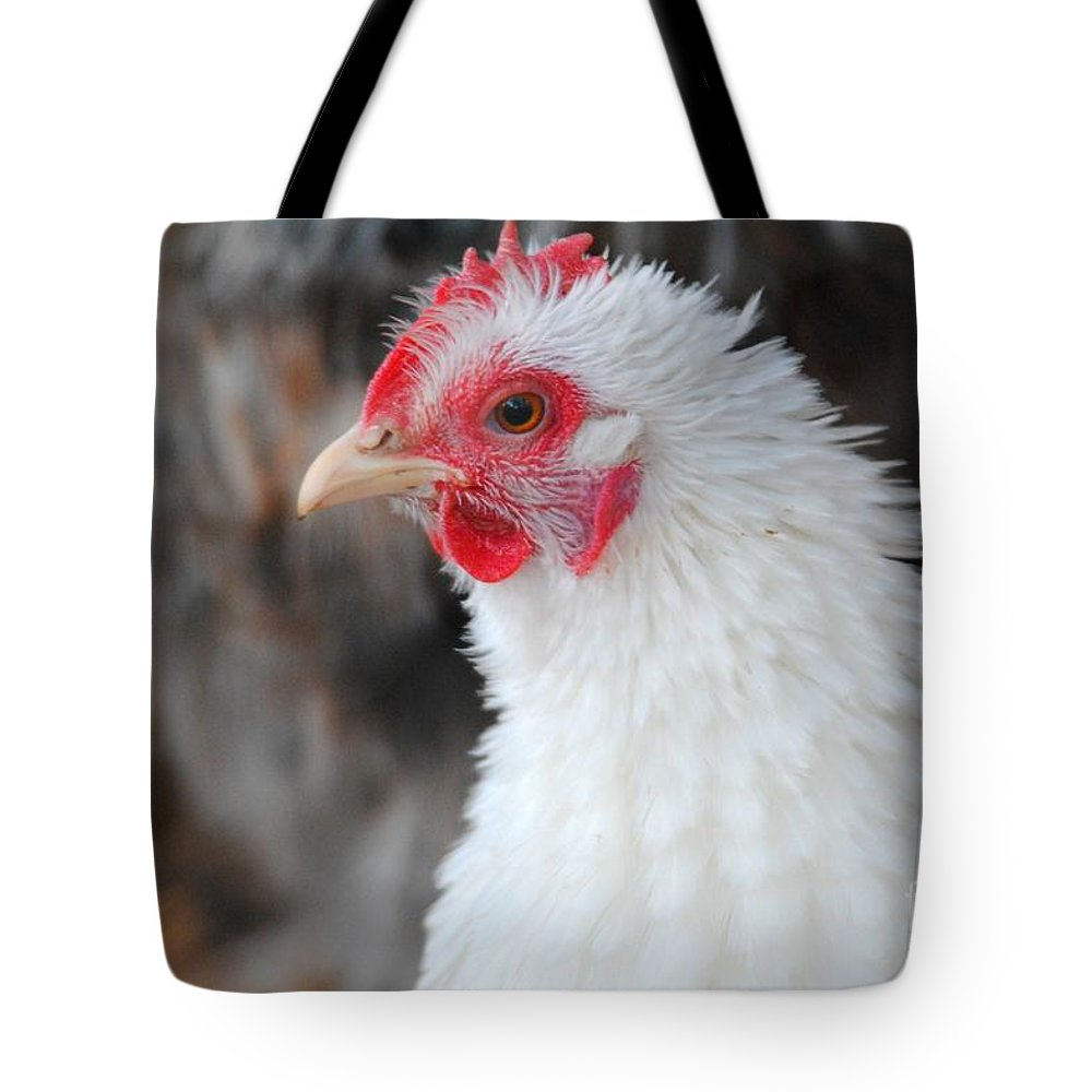Chicken Tote Bag featuring the photograph White Chicken by Jai Johnson