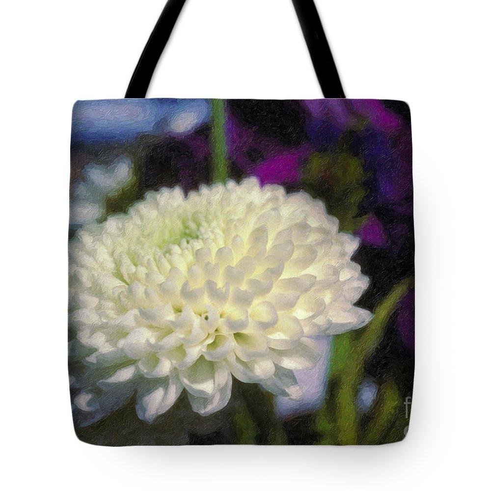 White Chrysanthemum Flower Beautiful Mum Tote Bag featuring the photograph White Chrysanthemum Flower by David Zanzinger