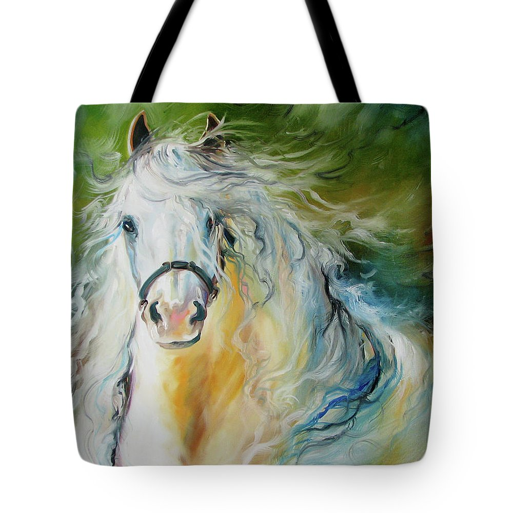 Horse Tote Bag featuring the painting WHITE CLOUD the ANDALUSIAN STALLION by Marcia Baldwin