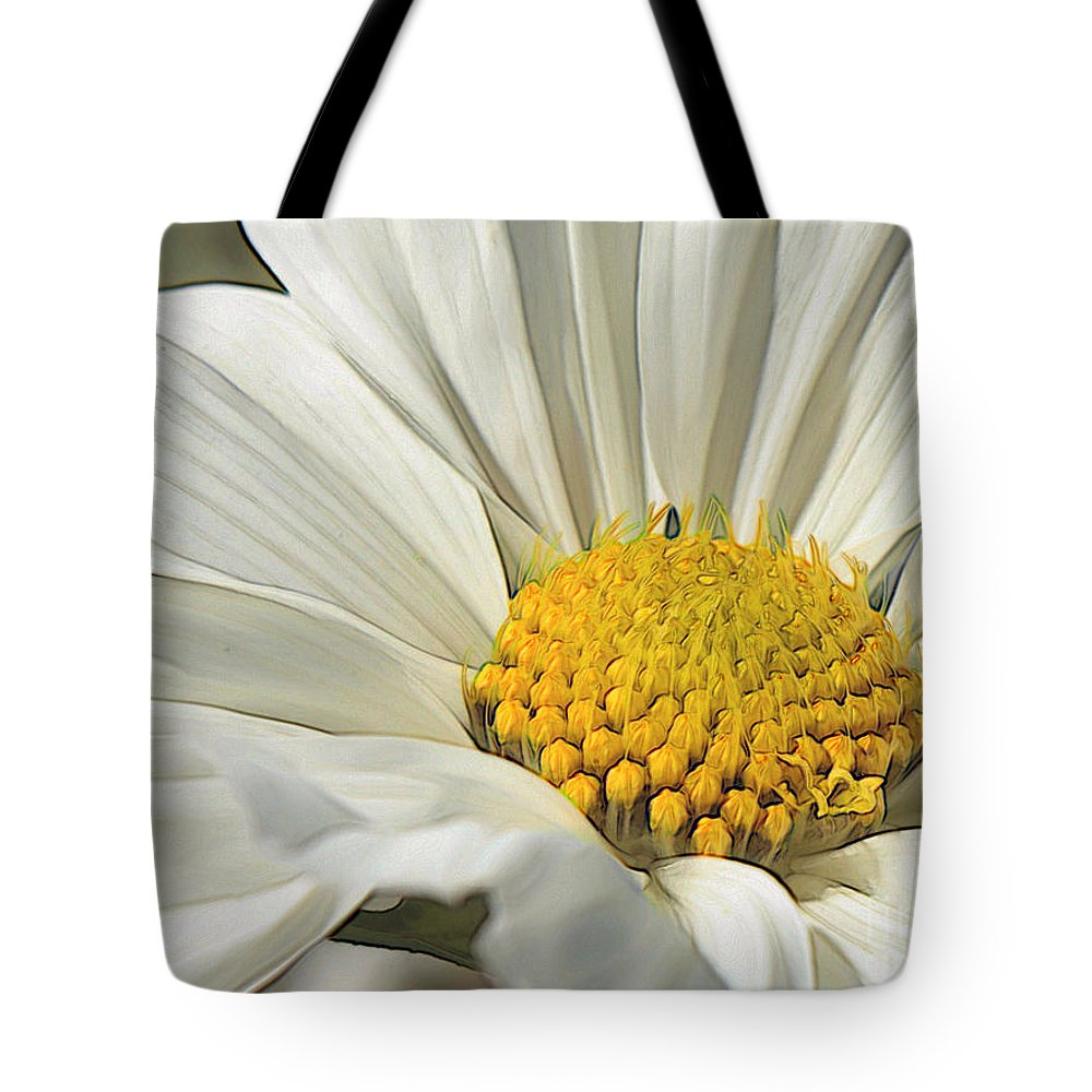 White Cosmos Flower Tote Bag featuring the photograph White Cosmos Dream by Carol Groenen