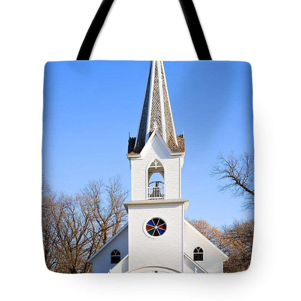 Church Tote Bag featuring the photograph White Country Church With Open Bell Tower by Donald Erickson