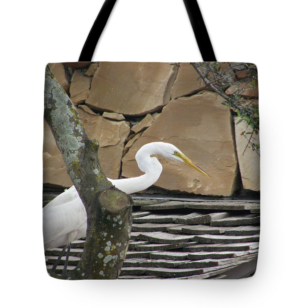 White Crane Tote Bag featuring the photograph White Crane On Roof by Alice Markham