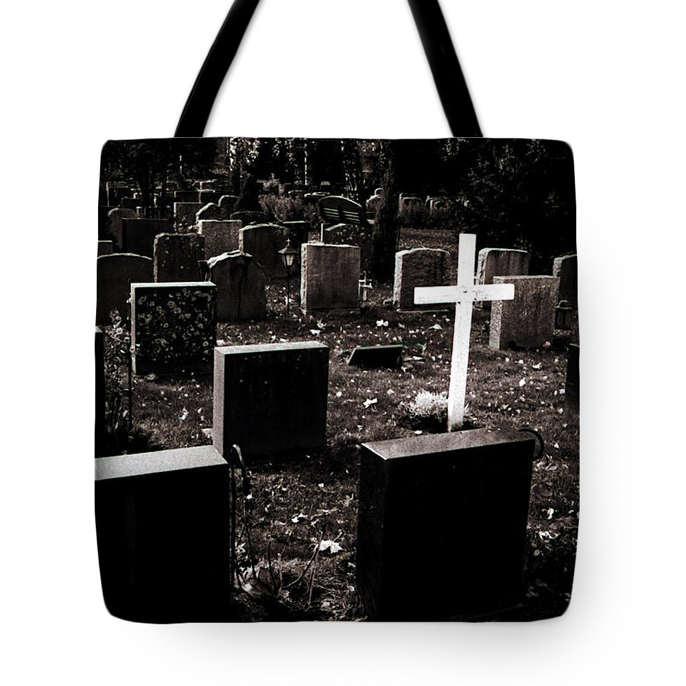 Cemetery Tote Bag featuring the photograph White Cross by Jarmo Honkanen